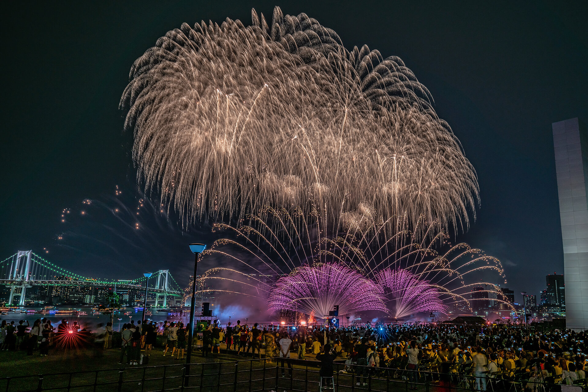 Fireworks lights up the night view of Tokyo
