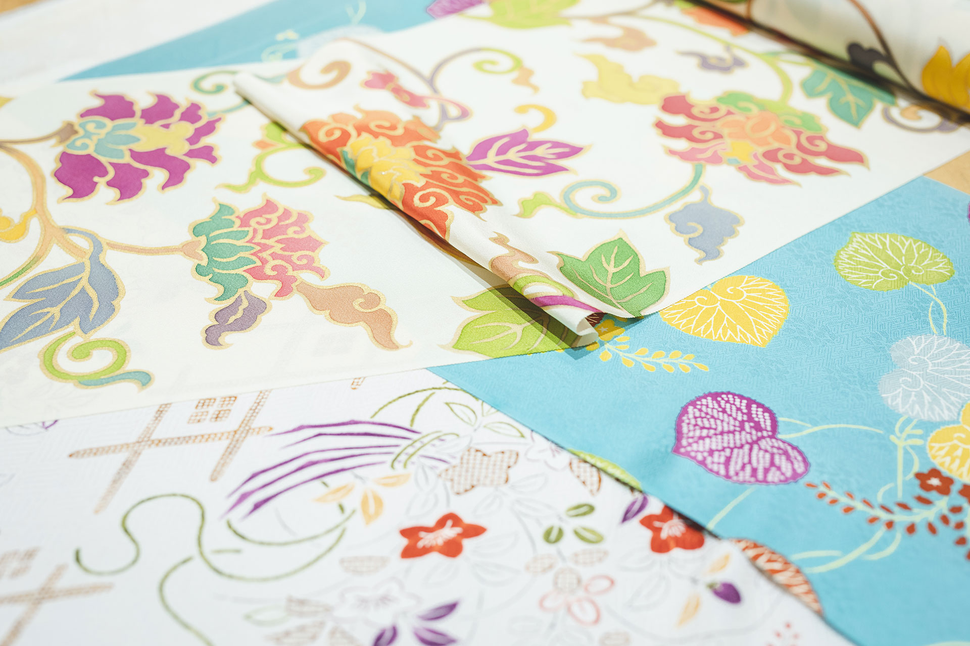 This beautiful kimono fabric is the masterpiece of the craftsmen's effort.